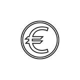 Euro monety linii ikona, finanse i biznes, royalty ilustracja