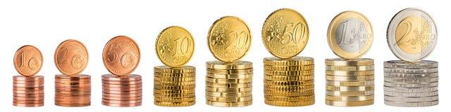 Euro monety sterty kolekcja Zdjęcia Royalty Free