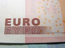 Euro money. Closeup of Euro money. Focused on the word EURO stock photos