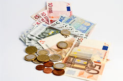 Euro Money. Paper Money and coins on white Royalty Free Stock Images