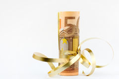 Euro money. European 50 euro paper bills and golden colour gift ribbon Royalty Free Stock Images