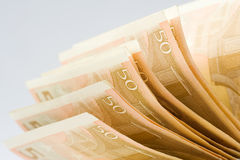 Euro money. European 50 euro paper bills against light gray background Stock Photography