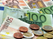 EURO money. EURO currency - banknotes and coins Stock Photo