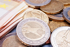 Euro money. Coins and bills euro money close up Royalty Free Stock Images