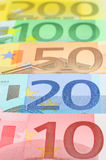 Euro money. Five euro notes closeup. Shallow depth of field, focus on 20 note Stock Image