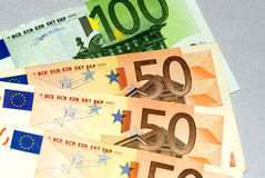 Euro money. European money for background use: one bill of of 100 (one hundred) euro and three bill of 50 euro (fifty) euro Stock Images