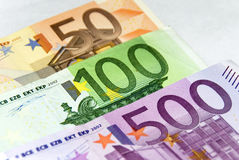Euro money. European money for background use: one bill of 500 (five hundred) euro, one bill of 100 (one hundred) euro and one bill of 50 euro (fifty) euro Royalty Free Stock Images