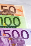 Euro money. European money for background use: one bill of 500 (five hundred) euro, one bill of 100 (one hundred) euro and one bill of 50 euro (fifty) euro Stock Photography