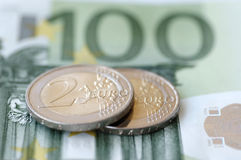 Euro money. Euro banknotes and coins (104 EUR Royalty Free Stock Photography