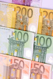 Euro money. Euro bills sort up verticaly Royalty Free Stock Photography