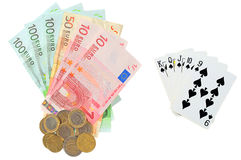 Euro money as prize in poker. Over white Stock Photo