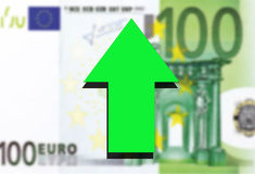 Euro money background and green arrow rising Stock Image
