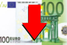 Euro money background and red arrow down Stock Photography