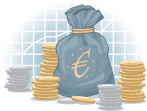 Euro Money Bag with Coins Royalty Free Stock Photo