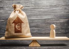 Euro money bag with up arrow and man figurine on scales. The average salary in the labor market, pricing. Criteria. And requirements for increasing the work of royalty free stock photography