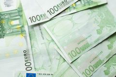 Euro money bank. Euro bills background. One hundred Euro bills. a lot of euro stock image