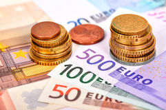 Euro money. Euro banknote money and coins , close up Royalty Free Stock Photos