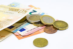 Euro Money banknote and coins isolated white background Stock Photography