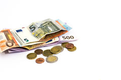 Euro Money banknote and coins isolated white background Royalty Free Stock Images