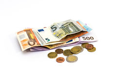Euro Money banknote and coins isolated white background Stock Photos
