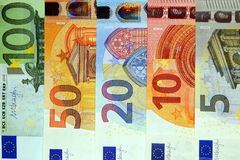 Sorted pile of paper euro banknotes as part of the european payment system. royalty free stock photography