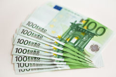 Euro money banknote. On the table Stock Images