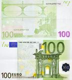 100 EURO MONEY BANKNOTE TWO SIDES Royalty Free Stock Image