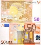 50 EURO MONEY BANKNOTE TWO SIDES. The two sides of a 50 euro banknote Stock Photography