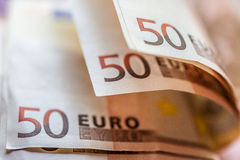Euro Money Banknotes. Close up of 50-Euro banknotes Stock Images