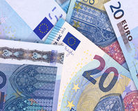 Euro Money Banknotes abstract background or texture. Royalty Free Stock Photo