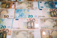 Euro money banknotes as background and texture.