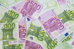 Euro money banknotes, background. 100 and 500 euro money banknotes, background Stock Photo