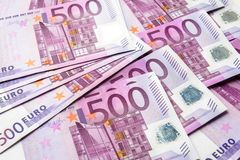 500 euro money banknotes background stock photo