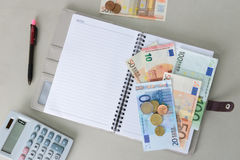 Euro money banknotes and coins counting with calculator, notebook and pen Stock Photos