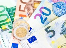 Euro money banknotes and coins Stock Photography