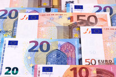 Euro Money Banknotes Different denominations abstract background. Stock Photo