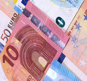 Euro Money Banknotes Different denominations abstract background. Stock Photos
