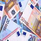 Euro Money Banknotes Different denominations abstract background. Stock Images