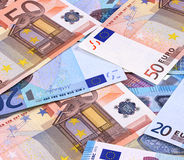 Euro Money Banknotes Different denominations abstract background. Royalty Free Stock Photography