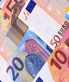 Euro Money Banknotes Different denominations abstract background. Royalty Free Stock Photos