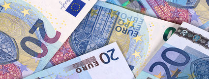 Euro Money Banknotes Different denominations abstract background. Royalty Free Stock Images