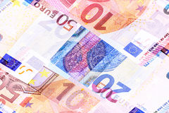 Euro Money Banknotes of Different denominations abstract background. Stock Photo