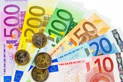A fan with euro notes Royalty Free Stock Image