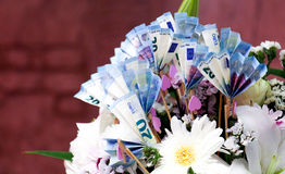 Euro Money Banknotes and flowers bouquet Royalty Free Stock Photos