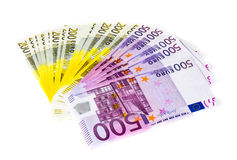 Euro money banknotes isolated on white background Royalty Free Stock Images