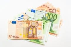 Euro money banknotes  on white Stock Photography