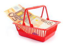 Euro money basket bassta market trade Royalty Free Stock Photography