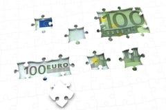 Euro money bill under jigsaw puzzle. 100 Euro money bill under a jigsaw puzzle with missing pieces Stock Image