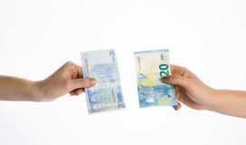 Euro money bills currency new banknotes Stock Photography