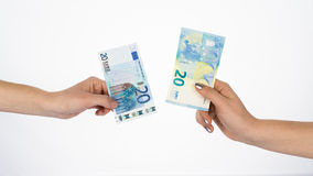 Euro money bills currency new and old banknotes Stock Photo